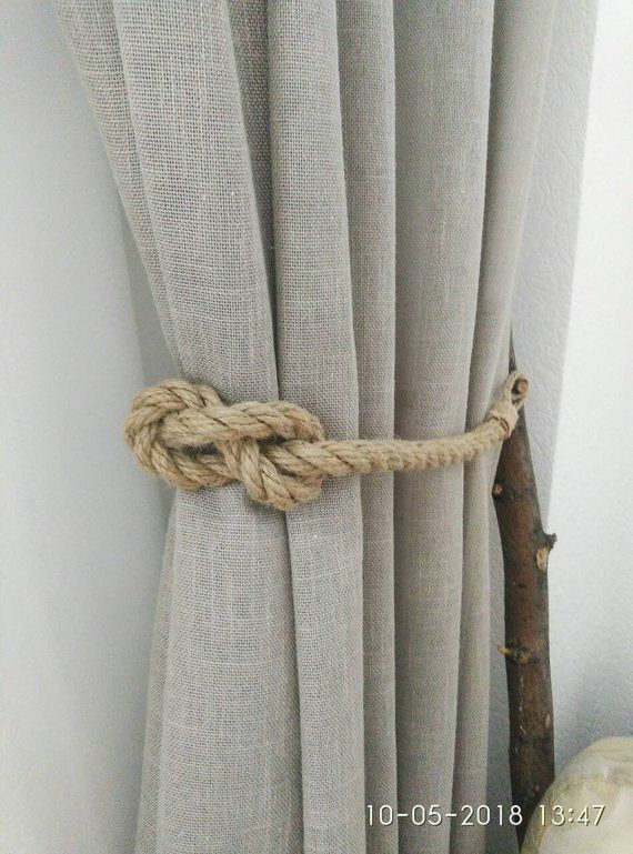 Jute Rope Curtain Tiebacks Nautical