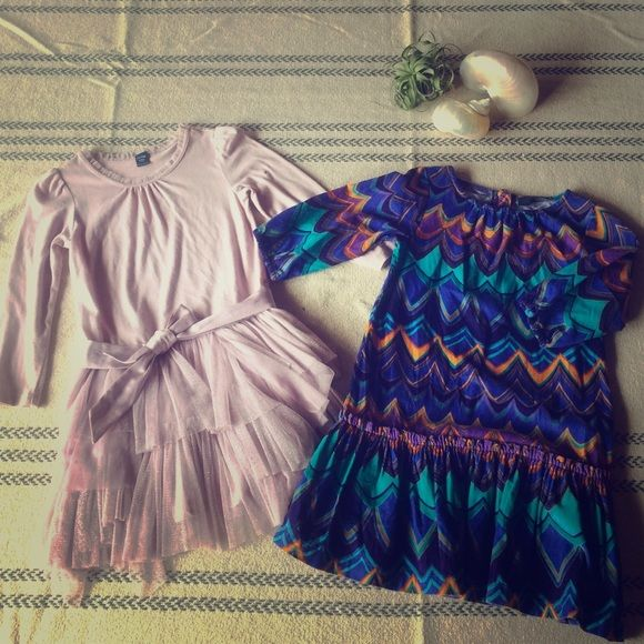 Lot of 2 Toddler 4T Dresses from Baby Gap Ballerina style layered tulle dress w satin belt. Peacock print corduroy dress both in excellent condition. GAP Dresses Midi