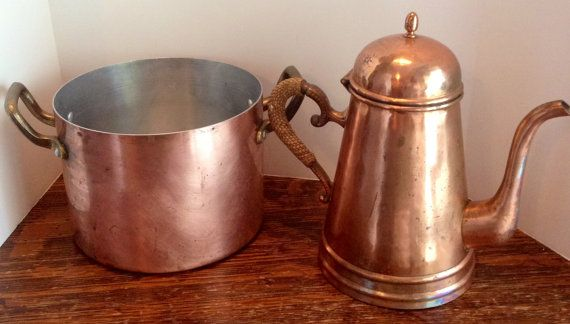 Copper Coffeepot and Copper Double Handled by MySweetMadison, $40.00