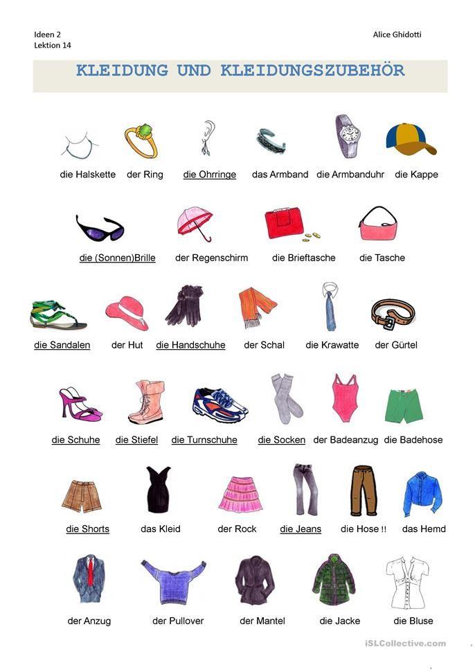 Kleidung: Wortschatz | Wortschatz, Schreiben Arbeitsblatt und ...