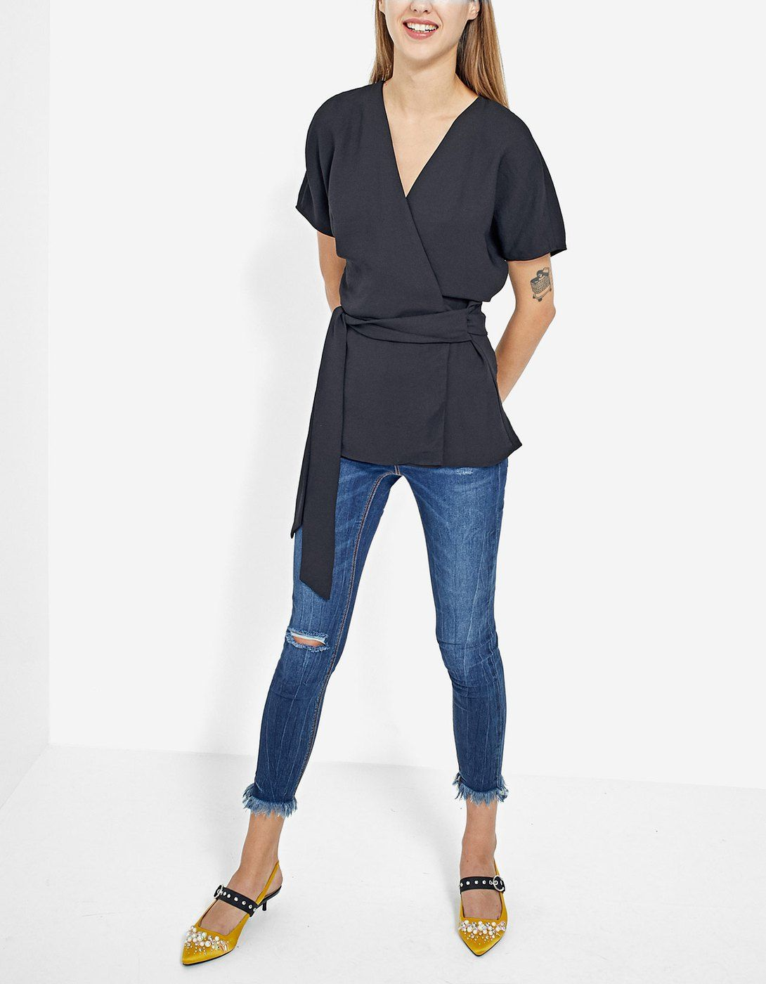 With Crossed A Sleeve Just Shirt InStradivarius Short Front rCtsQdh