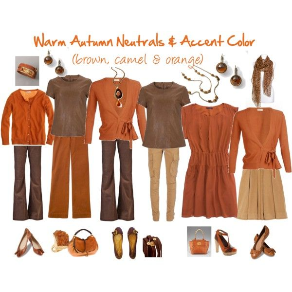"""Warm Autumn Neutrals & Accent Color"" by jeaninebyers on Polyvore"
