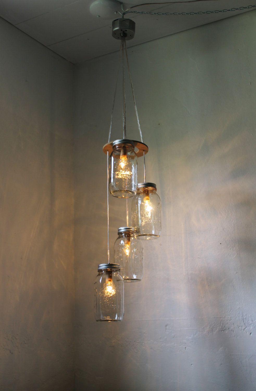 jar lighting. Fireflies - Spiral Cascading Mason Jar Chandelier Swag Style Hanging Pendant Lighting Fixture Rustic Wedding BootsNGus Lamp Design. $100.00, Via Etsy. S