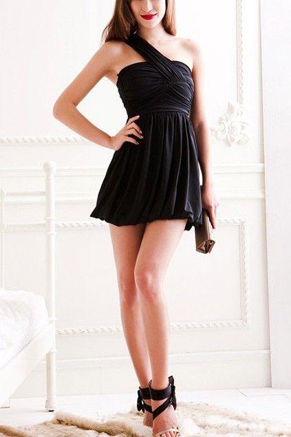 Classic Black Sexy One Shoulder Dress $28.00