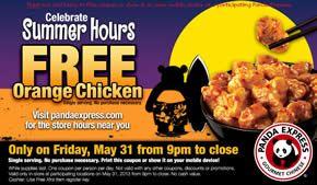 REMINDER: FREE Orange Chicken at Panda Express Today on http://www.icravefreebies.com/