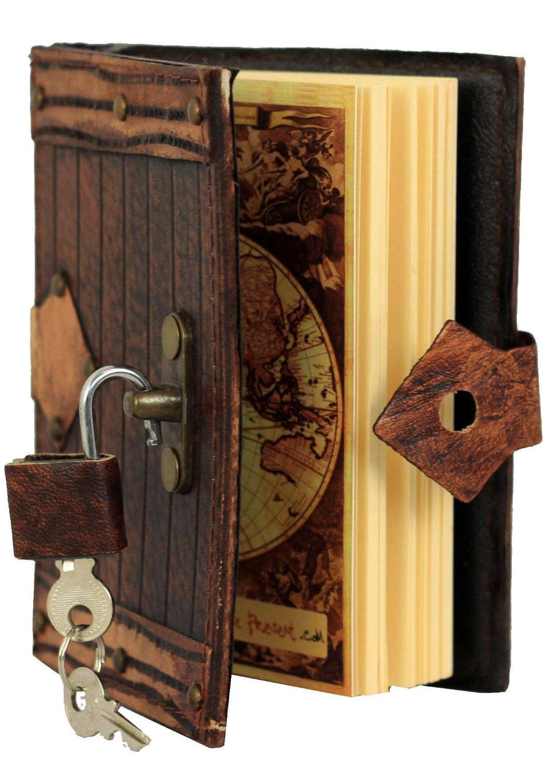 Amazon.com : Engraved Lined Pattern Padlock Refillable Leather Journal / Diary / Lock / Brown / Notebook / Plain Paper $30