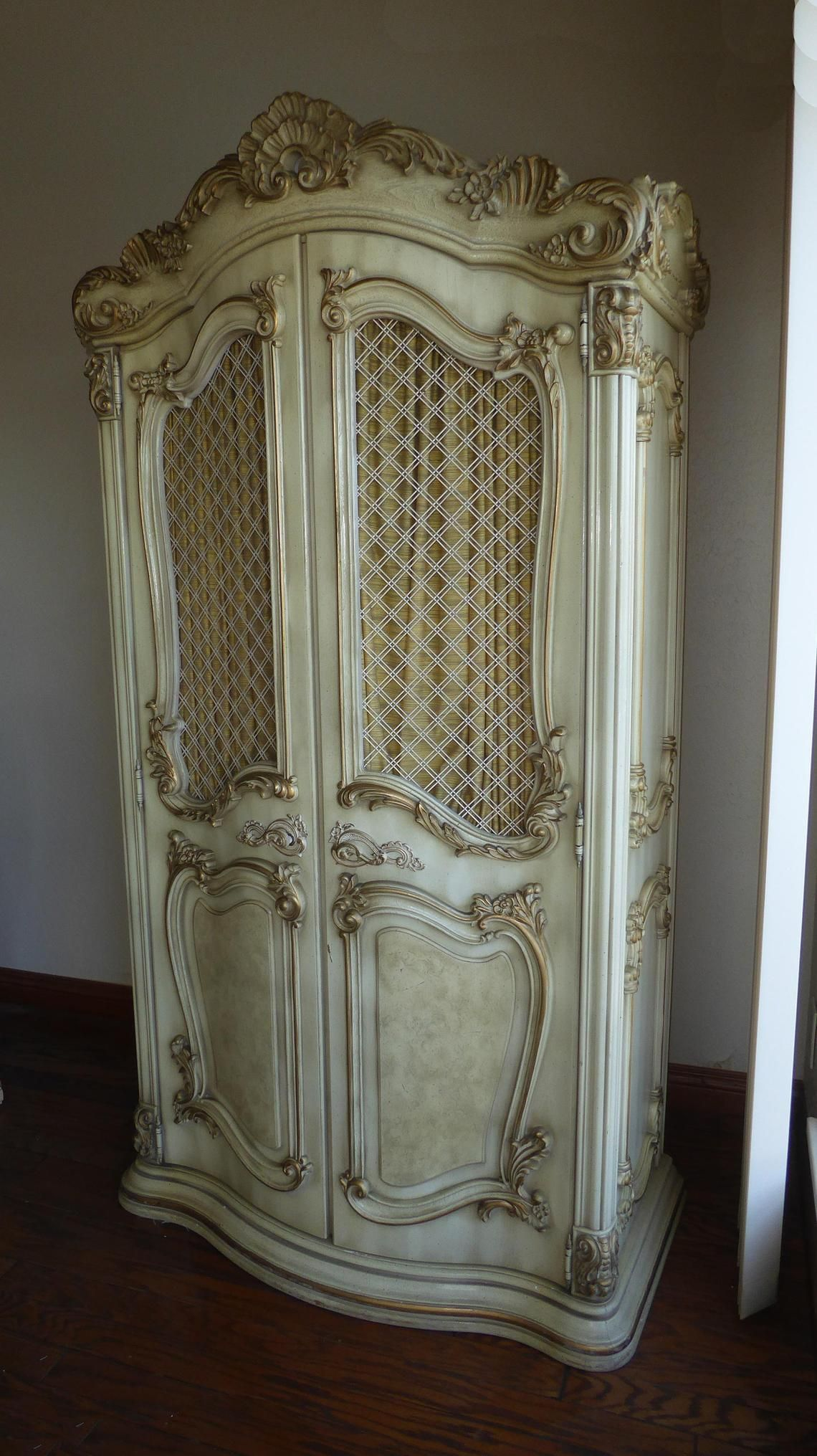 Vintage French Provincial Ornate Rococo Off White Armoire ...