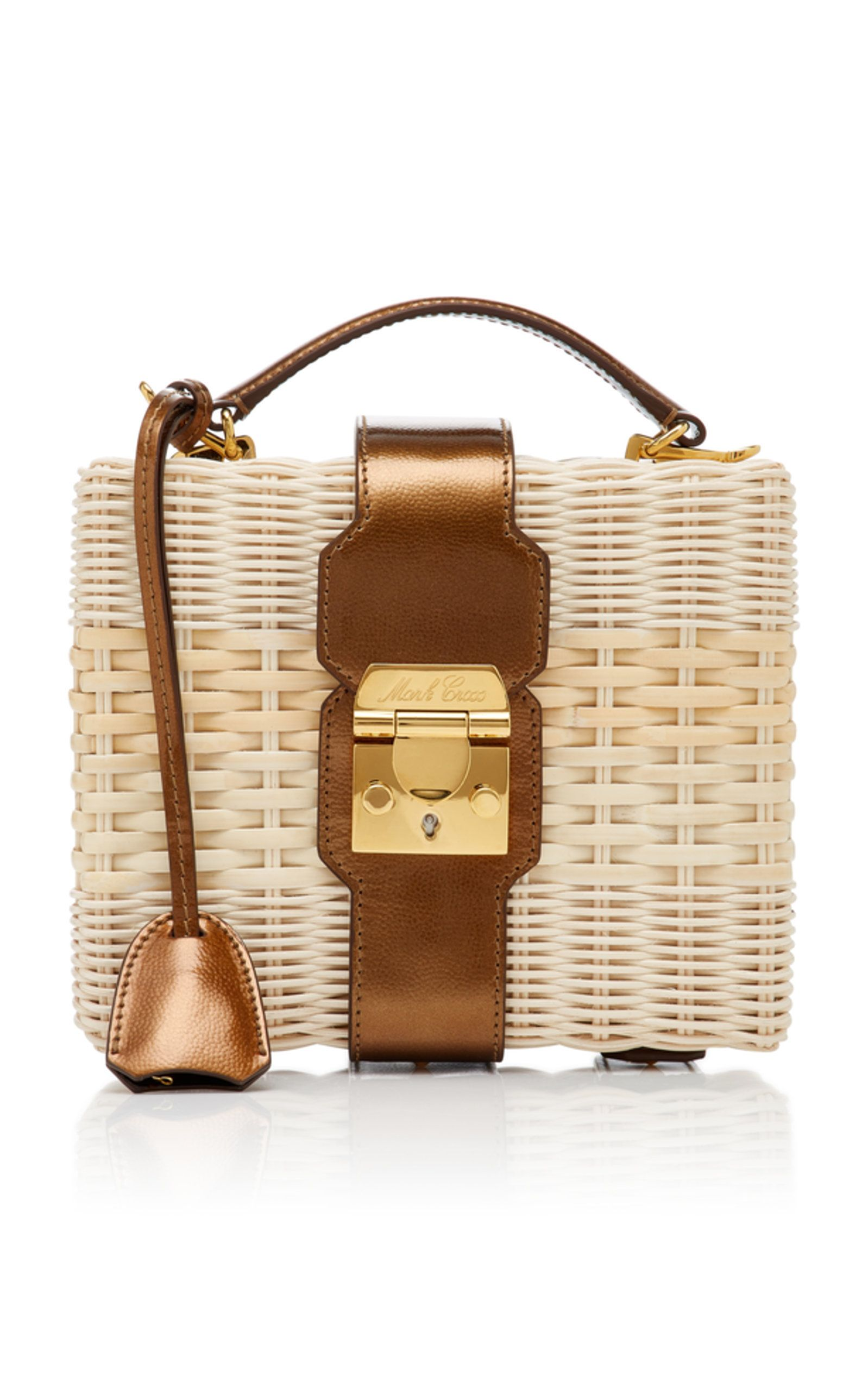f3ab093973d2 Harley Metallic Leather-Trimmed Rattan Bag in 2019