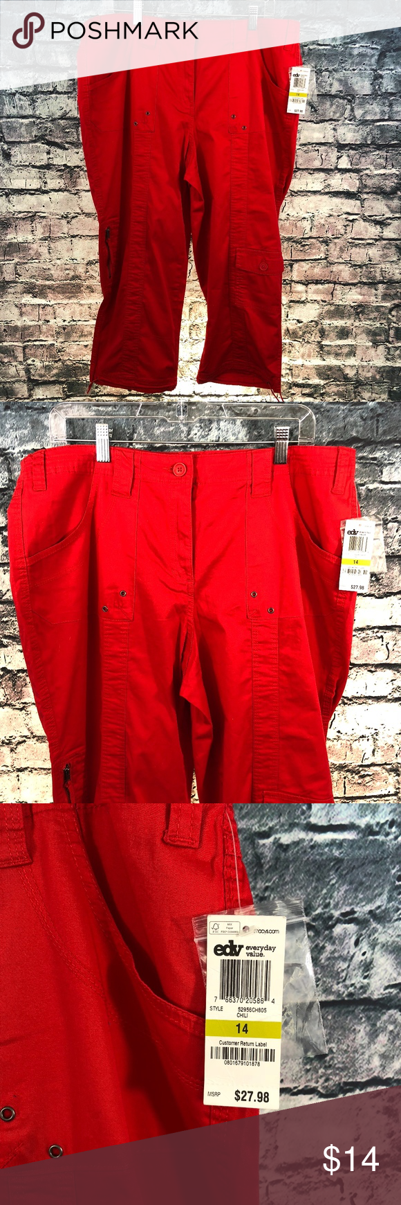 846f7a6b069381 Style & Co Plus Size Red Utility Capri Pants Style & Co Plus Size Red  Utility Capri Pants Size: 14 Condition: NWT, smoke free home, all seams and  pockets ...