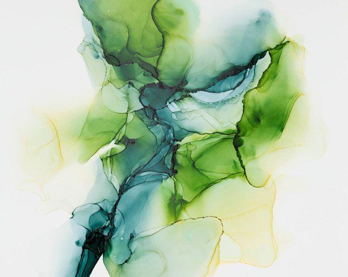L Alcool A L Encre Moderne Abstrait En Vert Abstrait Peinture Art
