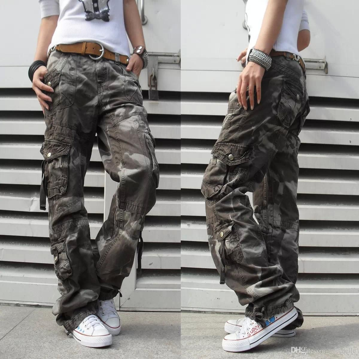 a851e683185 Women s Winter Thick Pants Womens Army Fatigue Pants Camouflage Cargo Pants  Hip Hop Harem Baggy Pants Multi Pocket Trousers 18