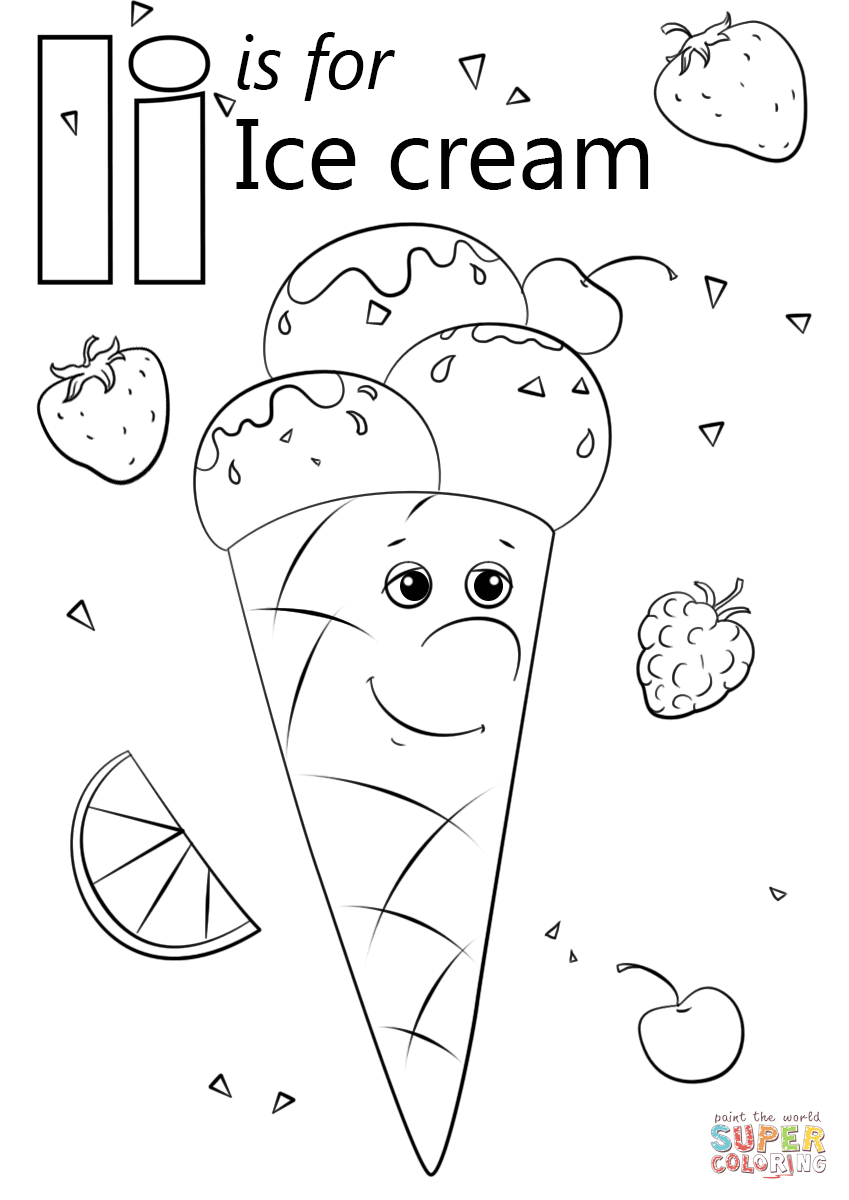 Letter I is for Ice Cream coloring page from Letter I