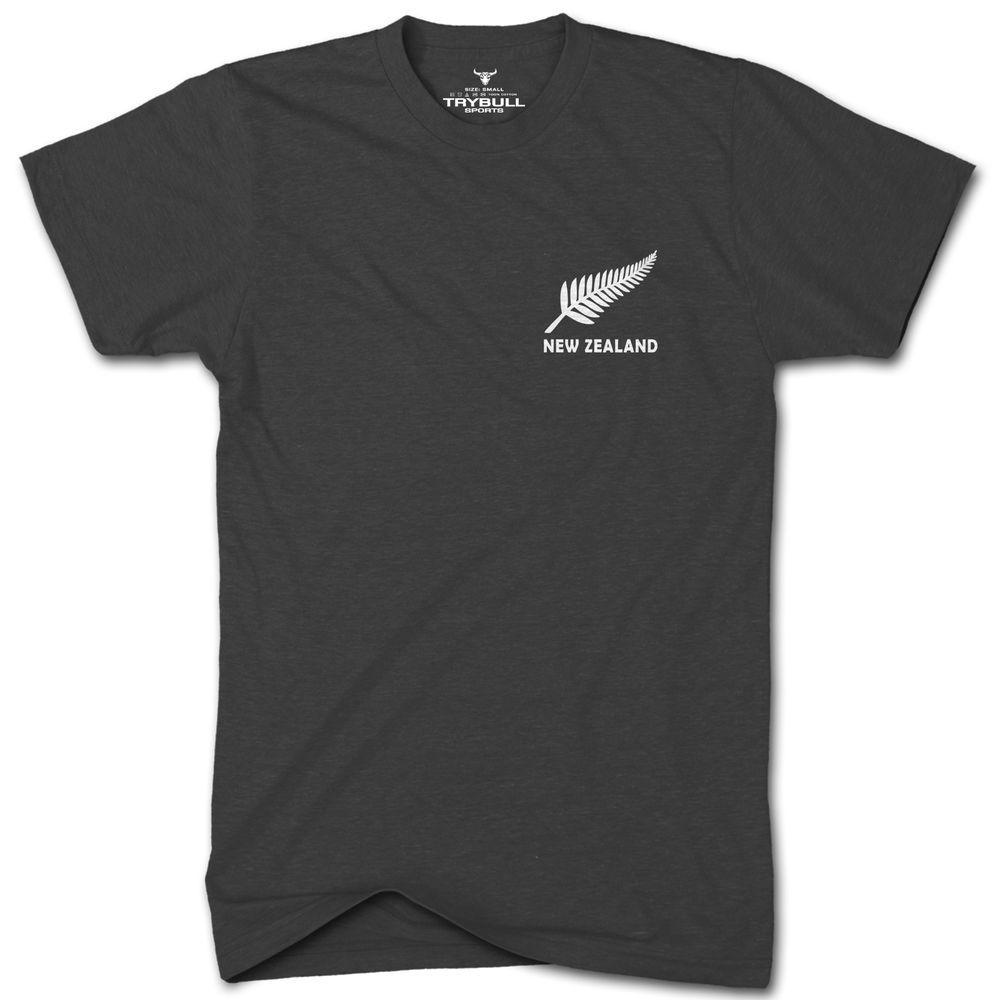 All black t shirt new zealand - New Zealand Rugby Tshirt Trybull Sports All Blacks T Shirt Fern Leaf Tr29