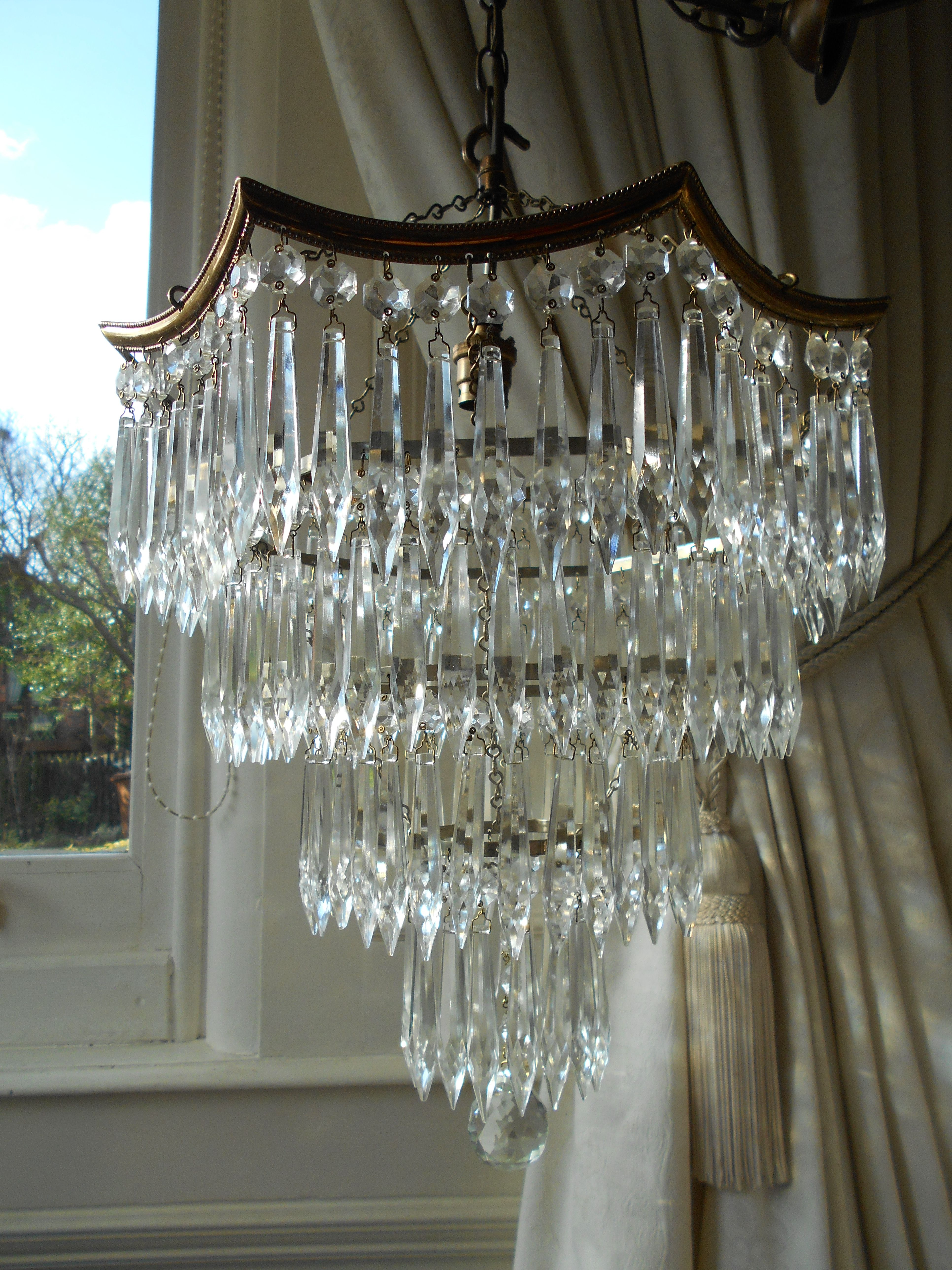 Vintage Octagonal 4 Tier Crystal Waterfall Chandelier