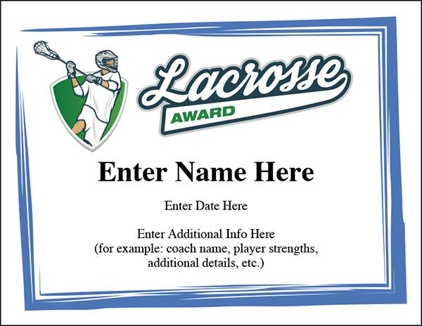 Lacrosse award certificate templates Cool designs and a nice - example of award certificate