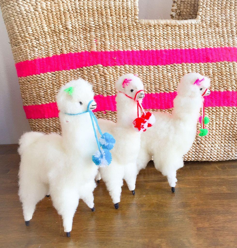 da5a4b4ac8f7 Stuffed white Alpaca - Colorful pompoms