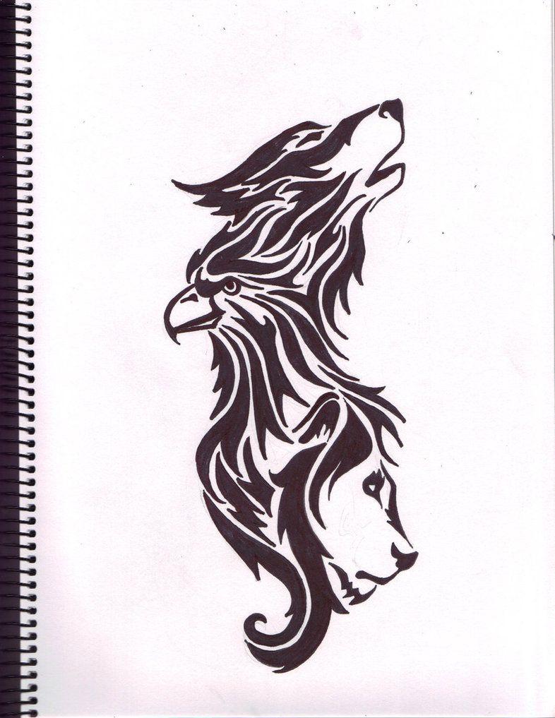 Wolf Eagle Lion Tattoo Wolf Tattoos Animal Tattoos Tribal Wolf Tattoo