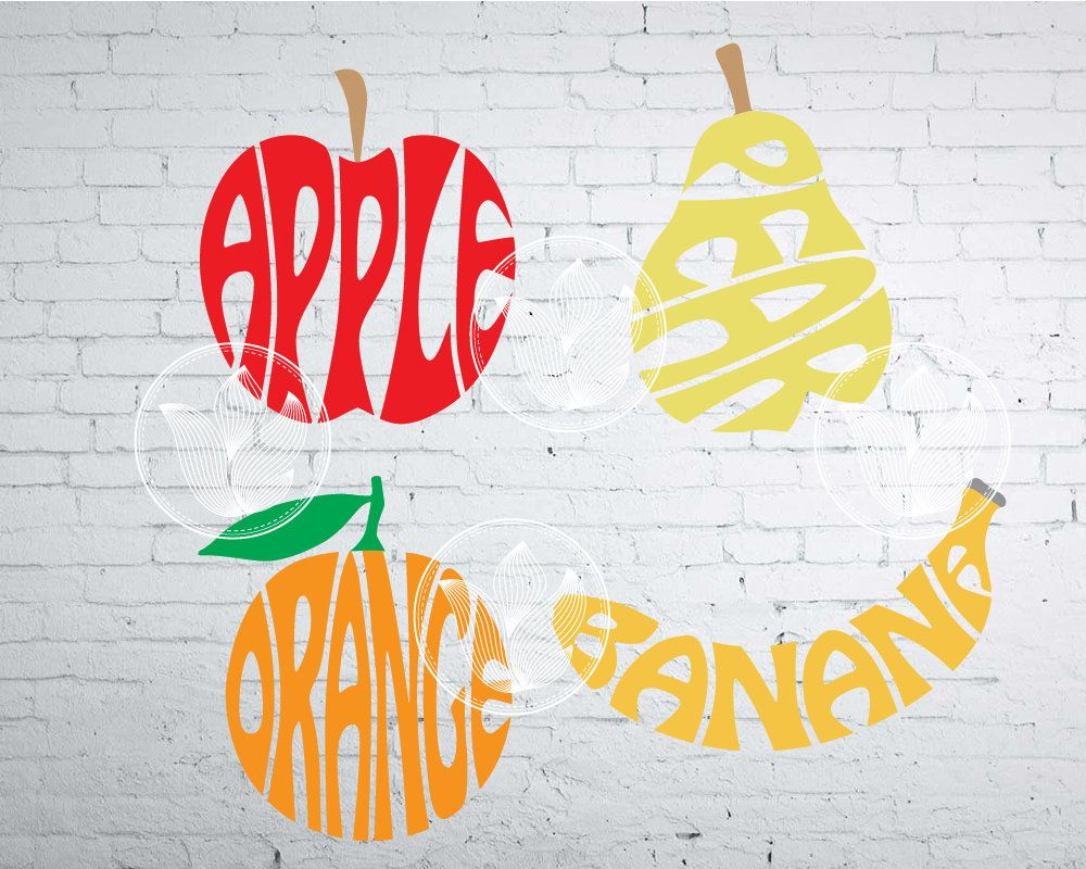 Fruits word art, Apple, Banana, Orange, Pear jpg, png, eps