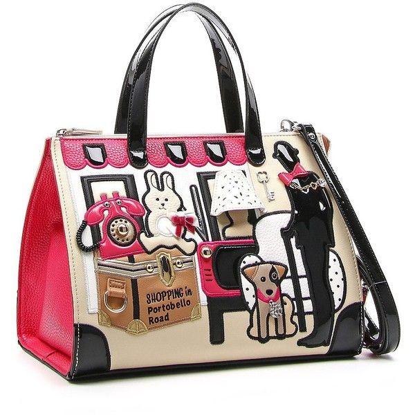 Tua Women's Cartoline Shopping On Portobello Road Satchel (290 CAD) ❤ liked on Polyvore featuring bags, handbags, multi colored, colorful handbags, vegan purses, colorful purses, white handbags and vegan leather handbags