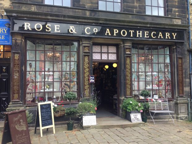 The apothecary in Haworth, England, where the Bronte sisters were from. Photo from http://mareseosullivan.com/2015/09/21/visiting-haworth-the-home-of-the-brontes/