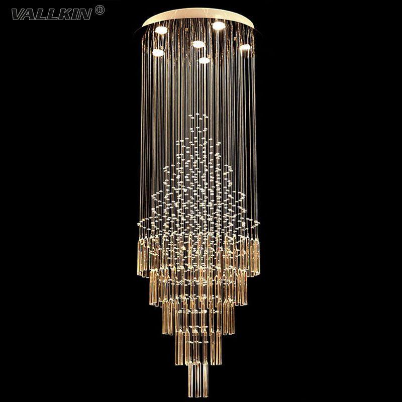 Wholesale New Style Elegant Long Spiral Crystal Ball Rain Drop Round Chandelier Hotel M Crystal Chandelier Lighting Modern Crystal Chandelier Modern Chandelier