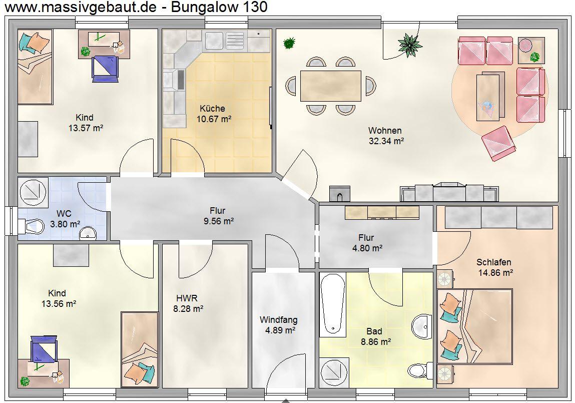 Bildergebnis für grundrisse bungalow 140 qm Grundriss