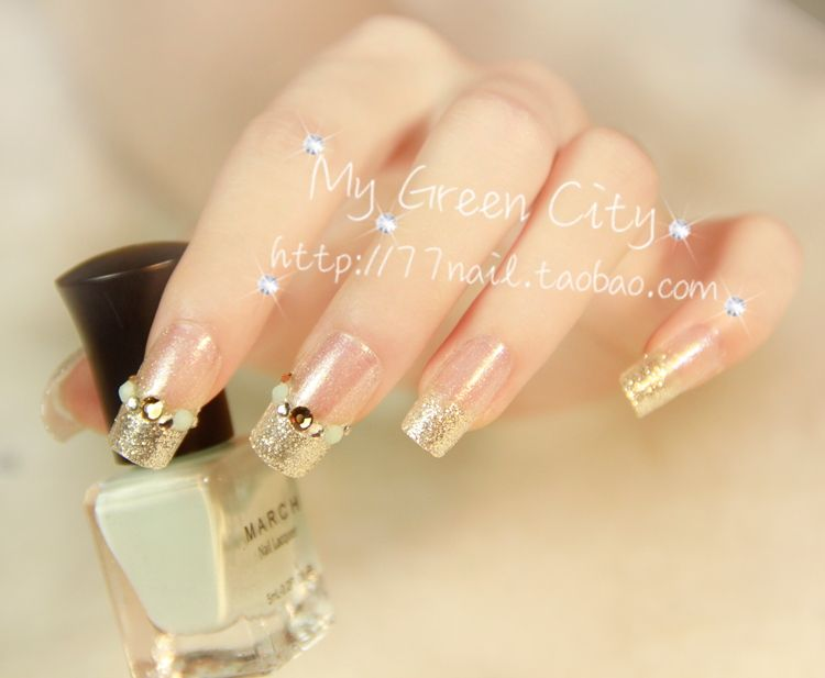 Aliexpress buy new elegant glitter nail tipsfrench manicure aliexpress buy new elegant glitter nail tipsfrench manicure silver 3d false prinsesfo Images