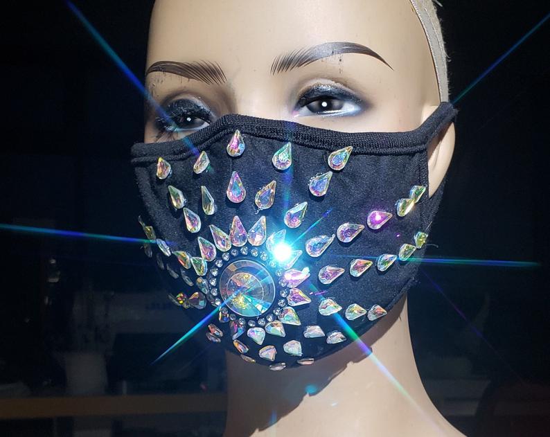 Cotton Mask Holographic Rhinestone Dust Mask Burning Man Etsy Rave Mask Mouth Mask Fashion Burning Man Accessories