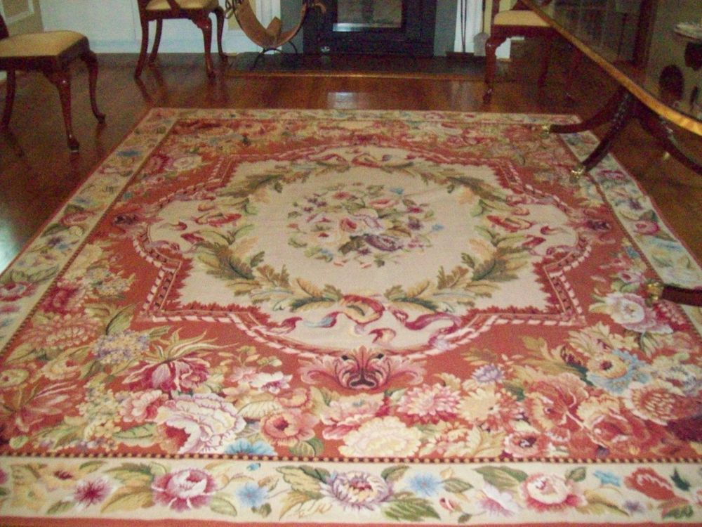 French Aubusson Needlepoint Oriental Area Rug Carpet 8 X 10 Rust Rose Beige Rugs On Carpet Rugs Diy Carpet