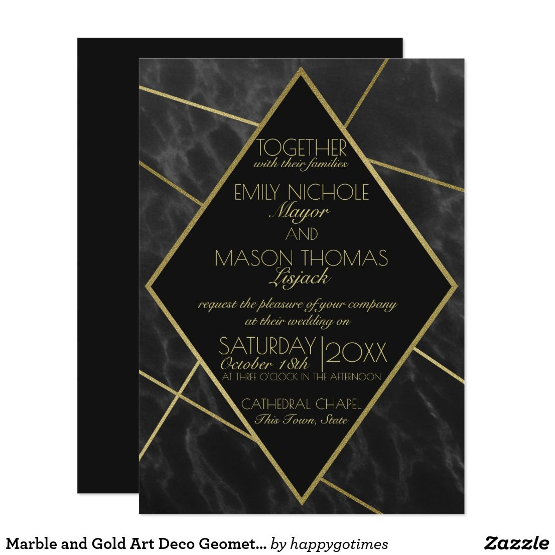 Marble And Gold Art Deco Geometric Slate Wedding Card Invites