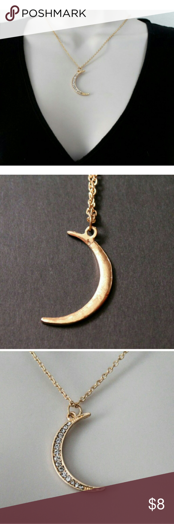 """Gold Crescent Moon Necklace Brand new and in original packaging. Gold plated Necklace length: 18.5"""" with 3""""extension chain Jewelry Necklaces"""