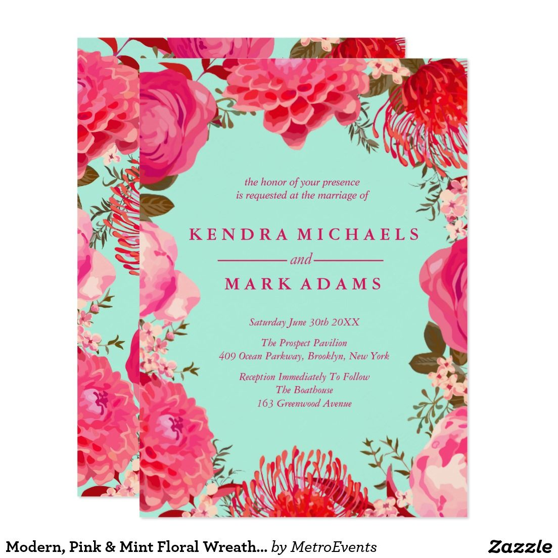 Modern, Pink & Mint Floral Wreath Invitations