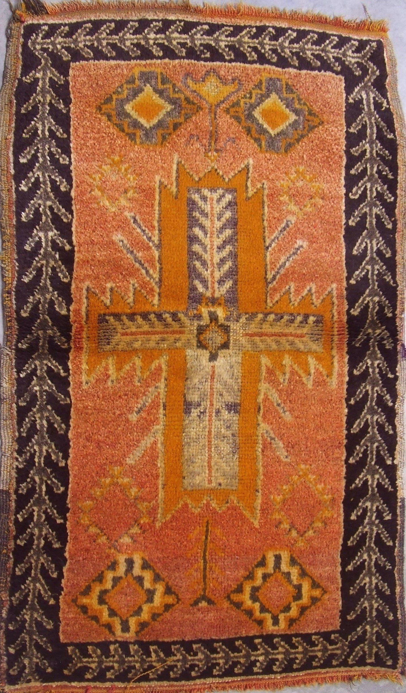 Old Moroccan Rug 2x4 Berber Rug Black Orange Rug Anti Atlas