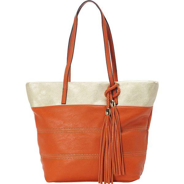 Sondra Roberts Bahamas Metallic Trim Shopper ($60) ❤ liked on Polyvore featuring bags, handbags, tote bags, orange, zip top tote bag, white handbags, sondra roberts handbags, white tote bag and white shopping bags