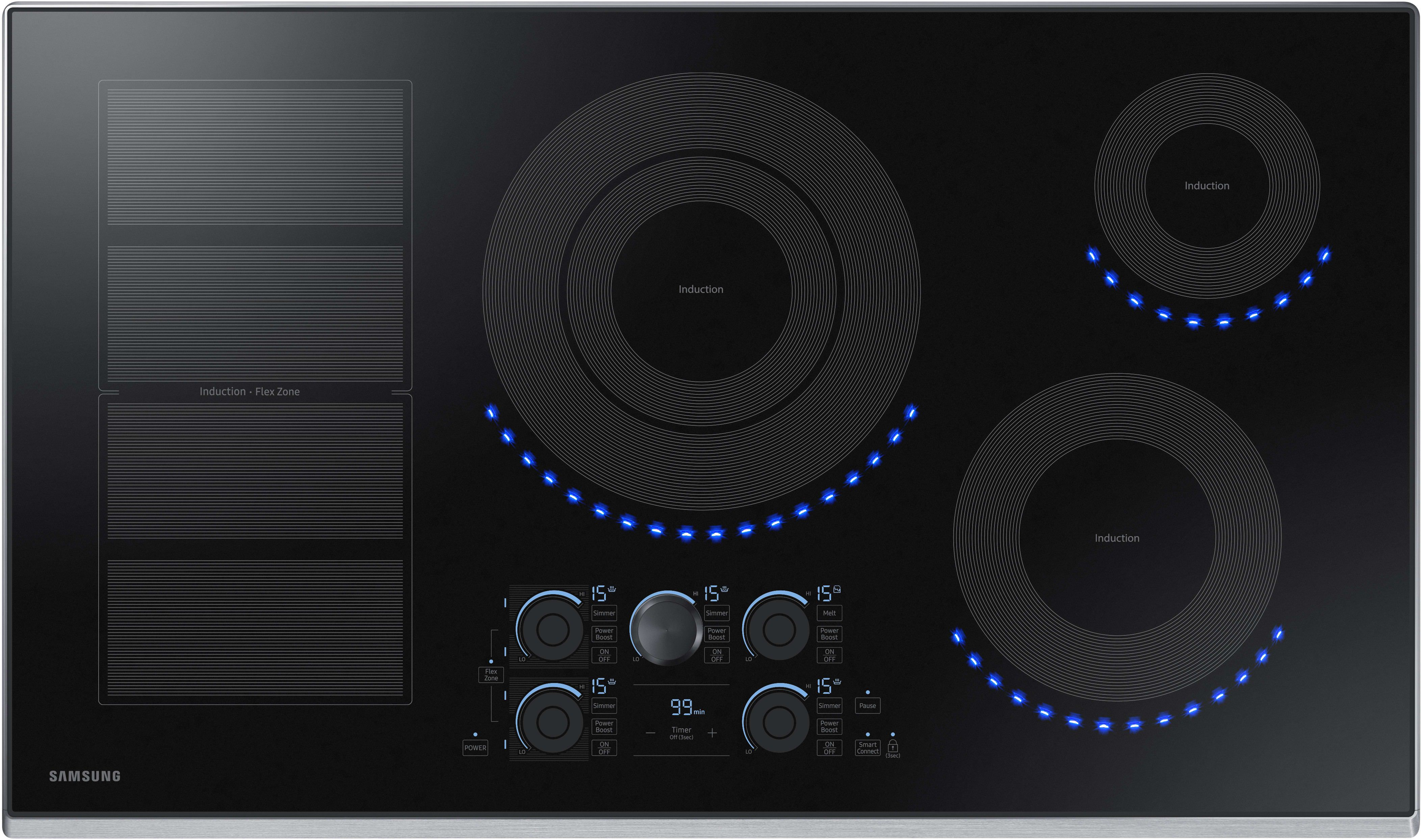 Samsung Nz36k7880us 36 Inch Induction Cooktop With Wi Fi Connectivity Flex Zone 15 Heat Settings Power Boost Melt Mode Simmer Control Virtual Flame Surfac