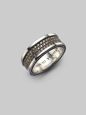 Cognac Pave Diamonds In Sterling Silver David Yurman Mens Ring Heart Wedding Rings Mens Accessories Fashion