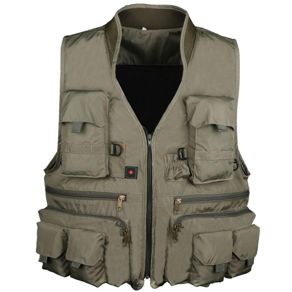 Homme sans manches maille été gilets Poches Outdoor Fishing manteaux veste Fashion