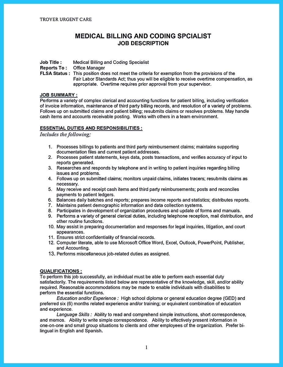 Nice Exciting Billing Specialist Resume That Brings The Job To You Medical And Coding