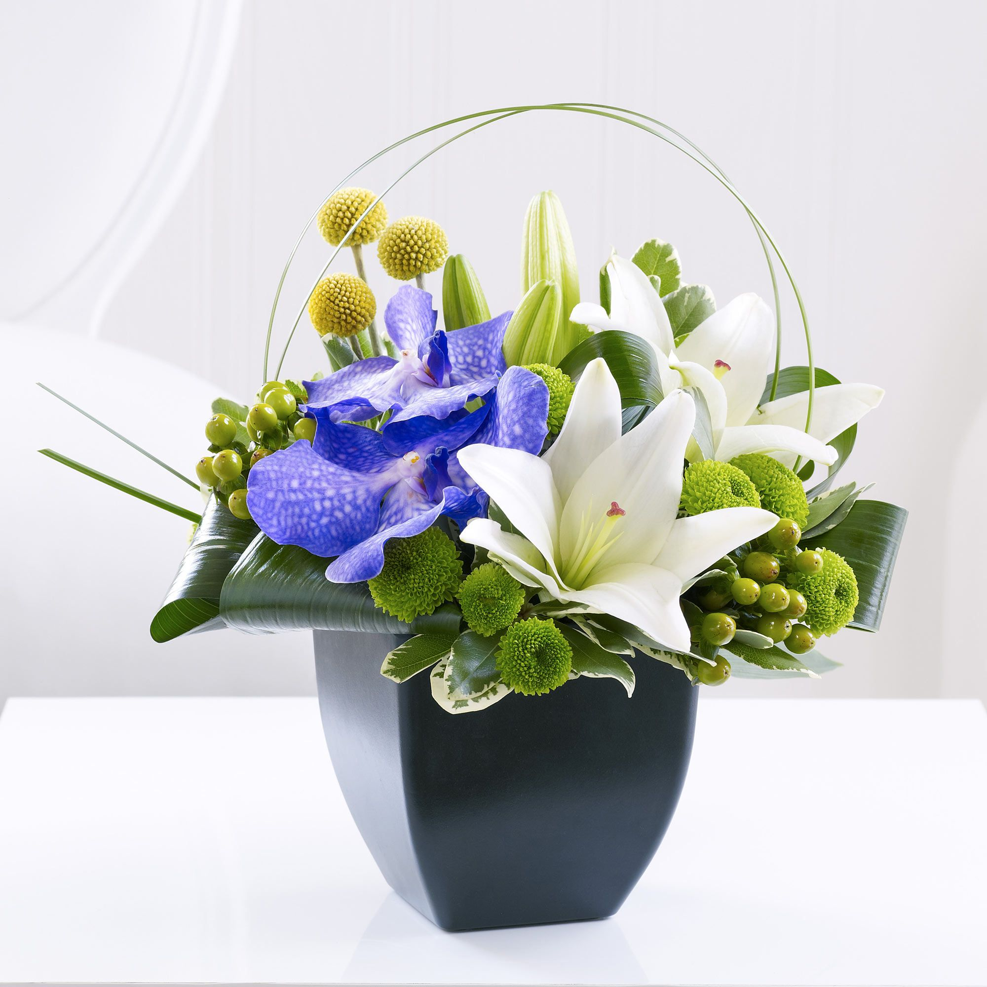 A Beautiful Arrangement For The Home Containing The Magical Looking Vanda Orchid Orchid Arrangements White Flower Arrangements Flowers Delivered
