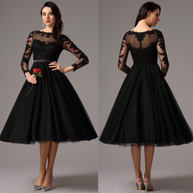 Rochii De Ocazie De Seara Neagra Dantela Maneci Lungi Dresses In