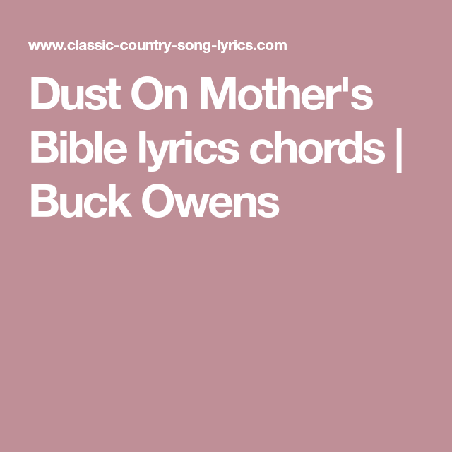 Dust on Mothers Bible