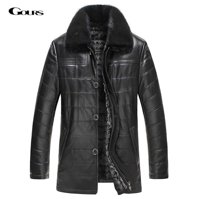 455b2e9bc Genuine Leather Jacket Rabbit Fur Parka | Men Fashion | Leather ...