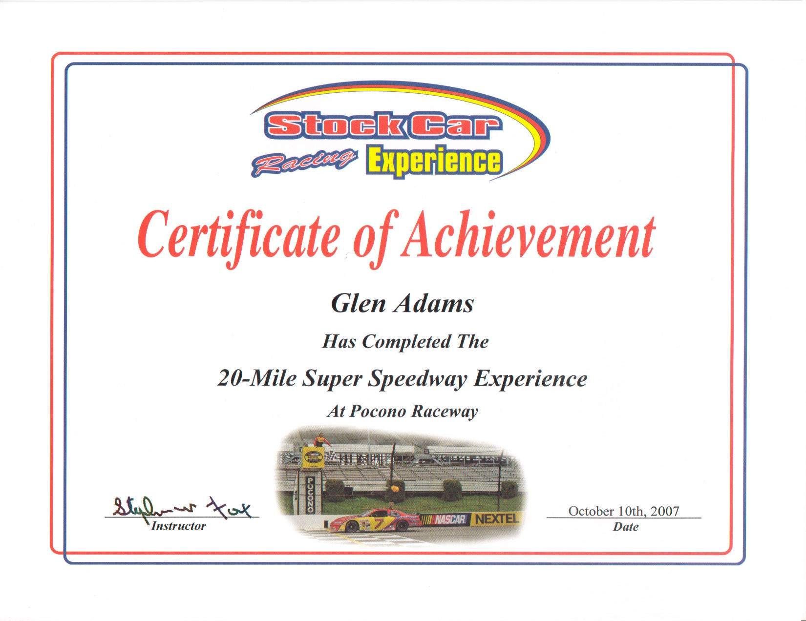 Received this after the driving the Pocono Track.