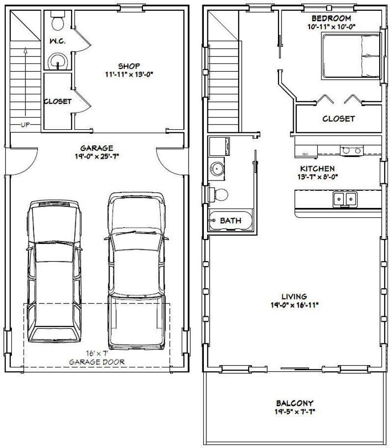 20x40 House 1 Bedroom 1 5 Bath 965 sq ft PDF Floor Plan Instant Download Model 6J