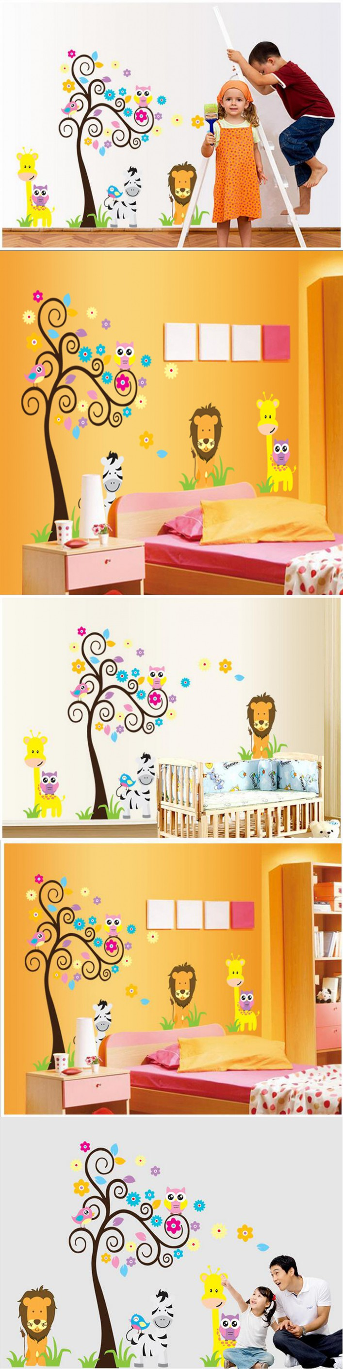 Owl Lion Giroffe Animal Tree Cartoon Wall Stickers Kids Animals Zoo ...