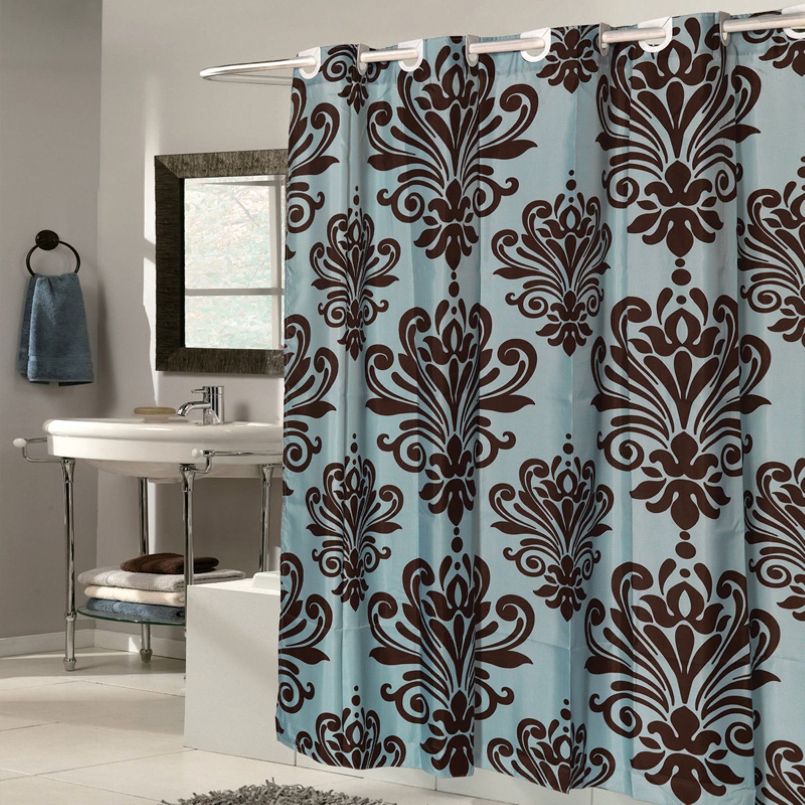 Sweet Home Collection Beacon Hill Ez On Hookless Fleur De Lis Fabric Shower Curtain Brown Fabric Shower Curtains