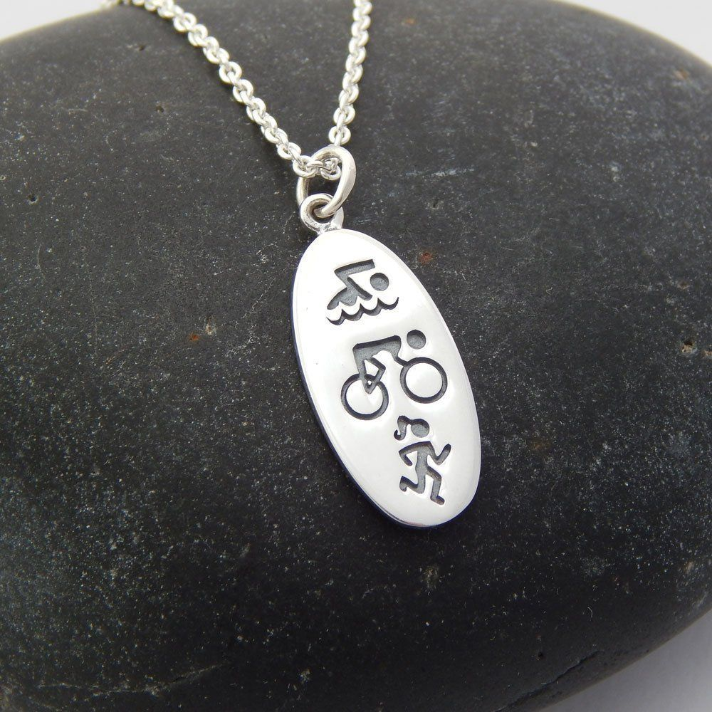 Gifts for Cyclists Men Triathlon Necklace Sterling
