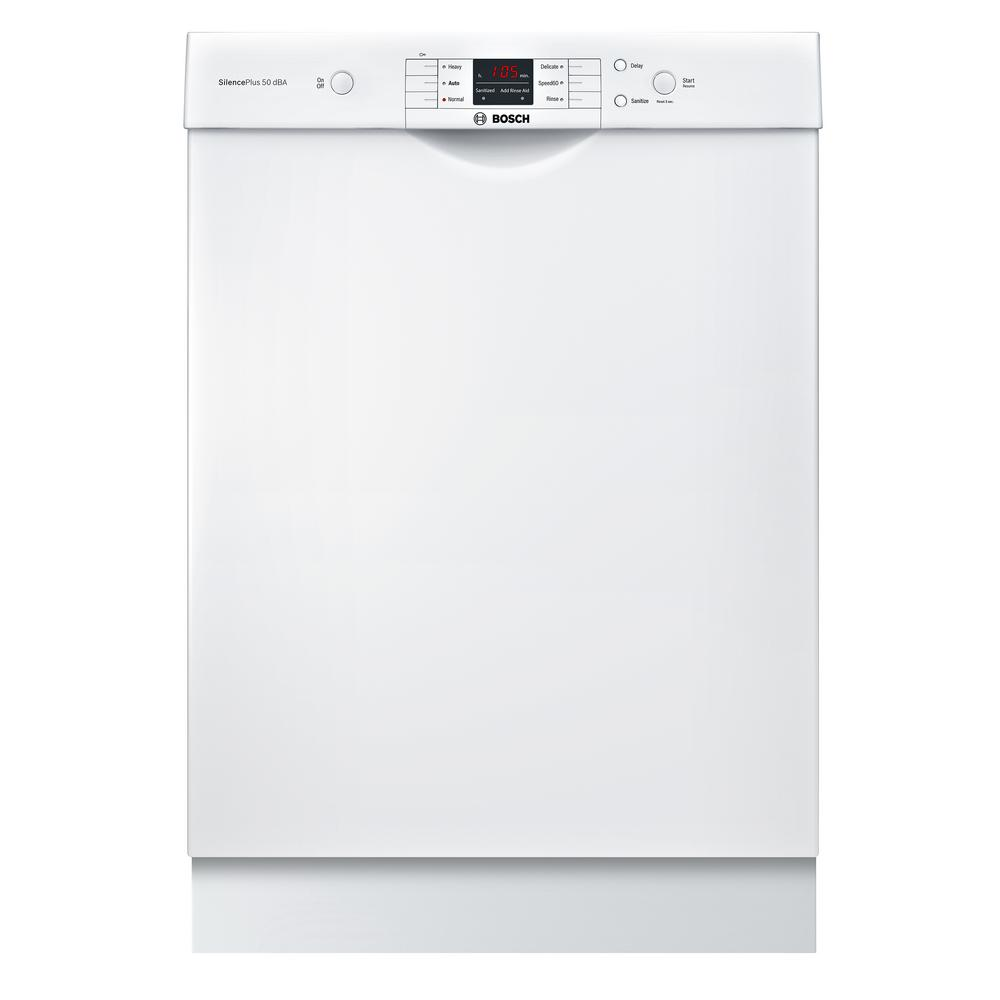 Bosch 100 Series 24 In White Front Control Tall Tub Dishwasher With Hybrid Stainless Steel Tub And Utility Rack 50dba Shem3ay52n The Home Depot Built In Dishwasher Steel Tub Dishwasher White