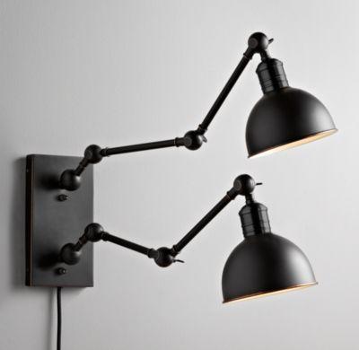 double swing arm wall light industrial double swingarm tipton sconce black wall restoration hardware