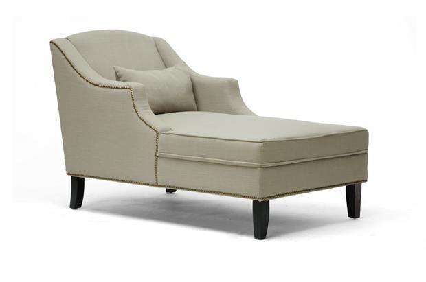 NEW! Baxton Studio Asteria Putty Gray Linen Modern Chaise Lounge. Free Shipping!